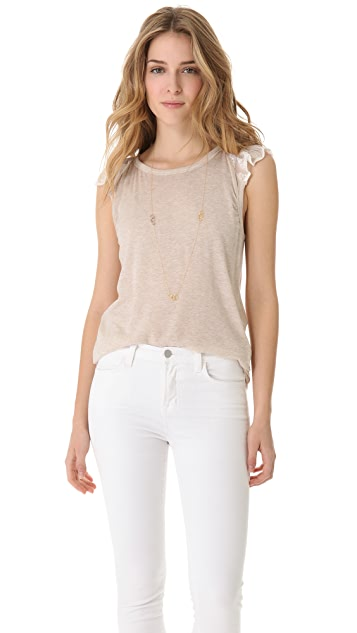 Clu Embroidered Chiffon Ruffle Top