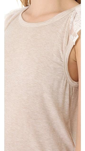 Clu Embroidered Chiffon Ruffle Top