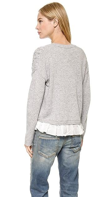 Clu Clu Too Ruffled Cable Knit Cardigan