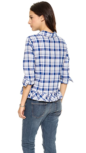 Clu Clu Too Ruffled Plaid Shirt