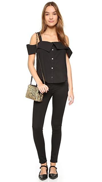 Clu Off Shoulder Button Down Top