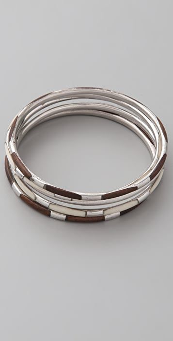 Club Monaco Wood & Silver Bangle Set