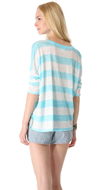 Club Monaco Teresa Stripe Linen Top