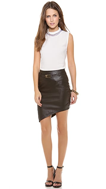camilla and marc Pictorial Asymmetrical Leather Skirt