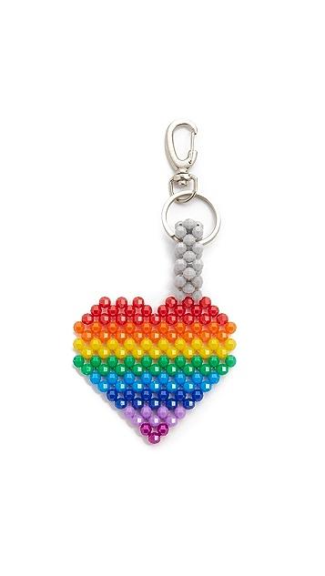 Mira Mikati Del Duca Rainbow Heart Bag Charm