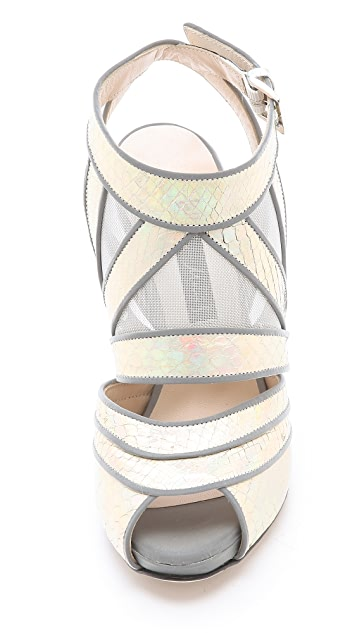 Chrissie Morris Sunburst Reflective Python Sandals