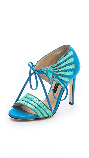 Chrissie Morris Holographic Tie Sandals