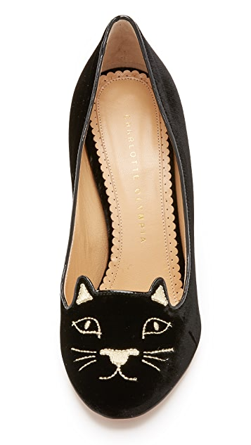 Charlotte Olympia Velvet Kitty Pumps