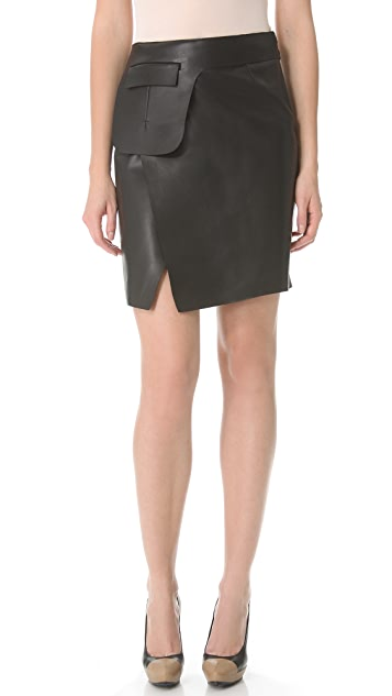 CoSTUME NATIONAL Black Leather Skirt with Waist Buckle