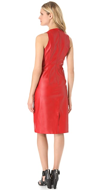 CoSTUME NATIONAL Leather Sheath Dress