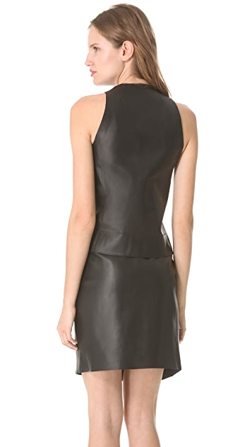 CoSTUME NATIONAL Leather Zip Vest