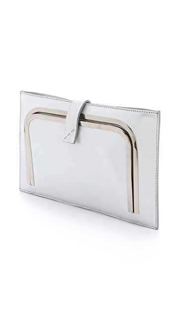 CoSTUME NATIONAL Silver Clutch with Metal Frame