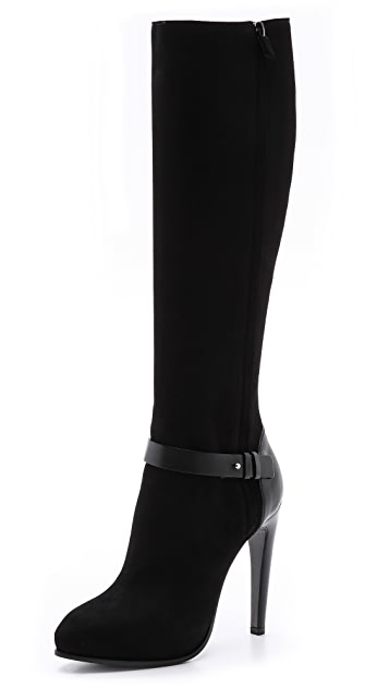 CoSTUME NATIONAL Leather Knee High Boots