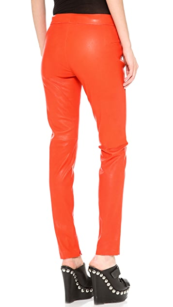 CoSTUME NATIONAL Leather Straight Pants