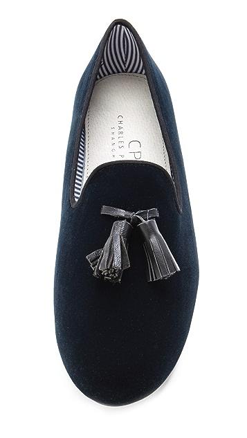 Charles Philip British Velvet Slippers with Tassels