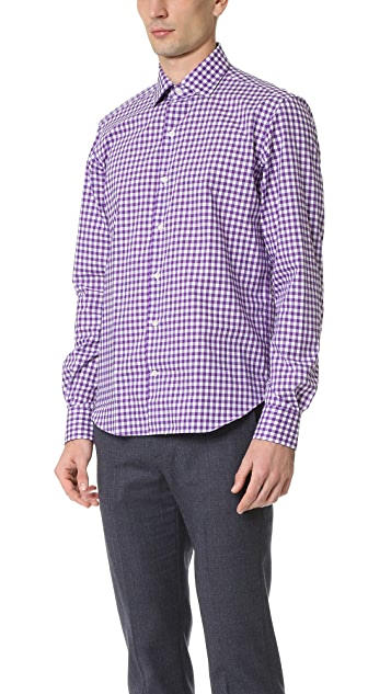 Culturata Point Collar Gingham Shirt