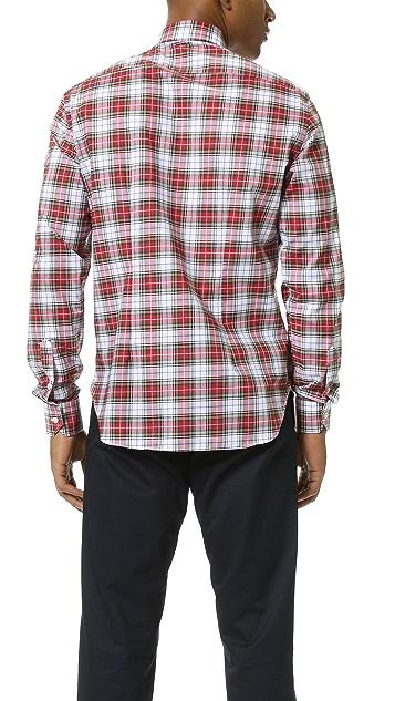 Culturata Point Collar Plaid Shirt