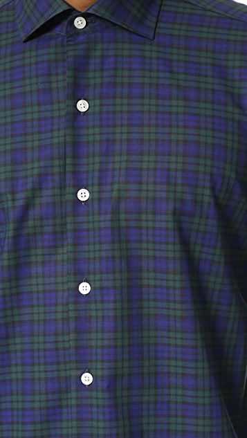 Culturata Spread Collar Plaid Shirt