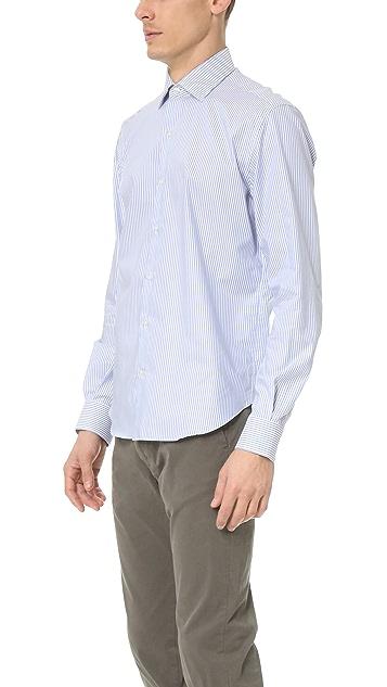 Culturata Point Collar Striped Oxford Shirt