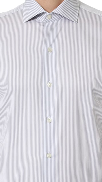 Culturata Spread Collar Fine Striped Shirt