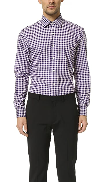 Culturata Point Collar Mini Plaid Shirt