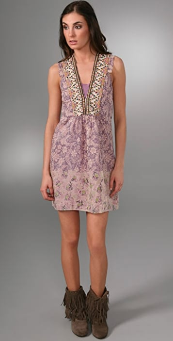 A Common Thread Embroidered V Dress
