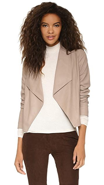 cupcakes and cashmere Callie Drape Front Leather Jacket