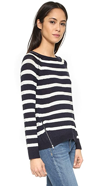 cupcakes and cashmere Elba Striped Sweater with Zipper Detail