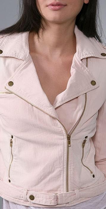 Current/Elliott Long Sleeve Biker Jacket with Zip Cuffs