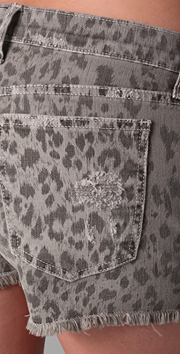 Current/Elliott Boyfriend Leopard Print Shorts