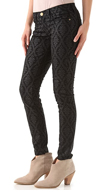 Current/Elliott The Ankle Skinny Print Jeans