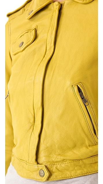 Current/Elliott The Zip Leather Moto Jacket