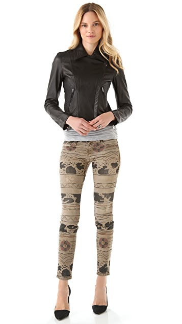 Current/Elliott Print Ankle Skinny Jeans