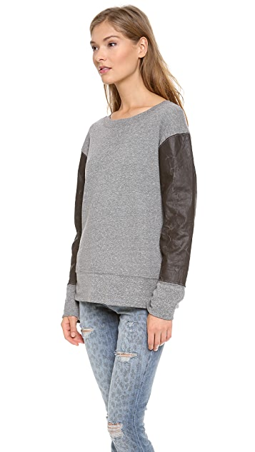 Current/Elliott The Stadium Sweatshirt with Coated Sleeves