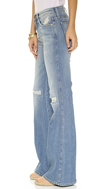 Get To Buy Sale Online Current/elliott Woman High-rise Flared Jeans Mid Denim Size 26 Current Elliott Prices B1E7c0