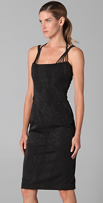 Cushnie Moire Halter Dress with Elastic Detail