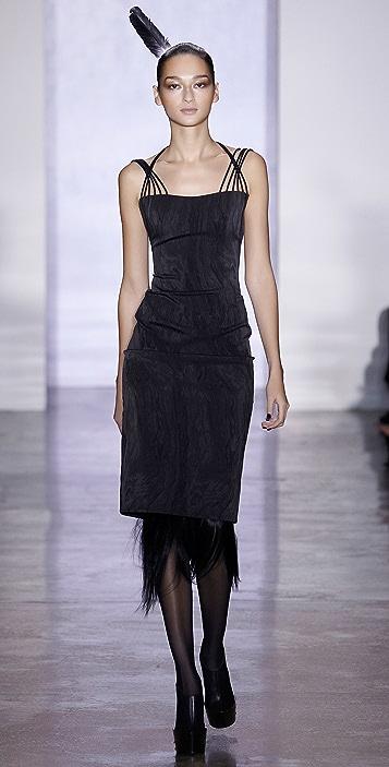 Cushnie Moire Halter Dress with Elastic Detail
