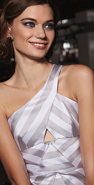 Cushnie Et Ochs Cutout Striped Dress