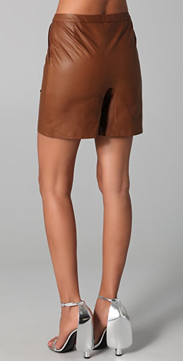Cushnie Et Ochs Leather Shorts