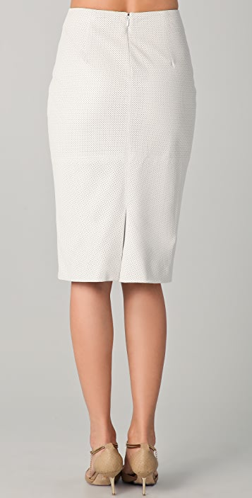 Cushnie Et Ochs Perforated Leather Skirt