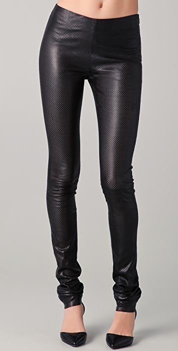 buy popular speical offer hot-selling genuine Perforated Leather Leggings