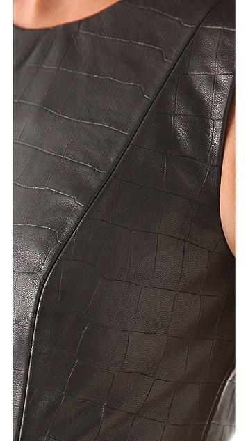 Cushnie Et Ochs Croc Leather Dress