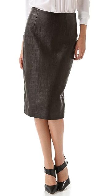 Cushnie Et Ochs Croc Leather Skirt