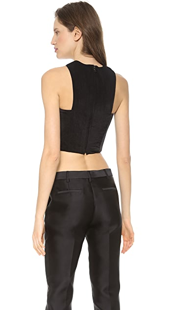 Cushnie Et Ochs Cropped Lattice Neck Top