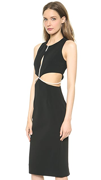 Cushnie Et Ochs Sleeveless Dress with Imitation Pearls