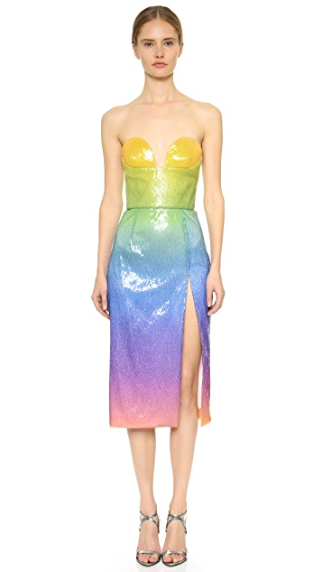 Cushnie Et Ochs Sequin Strapless Dress