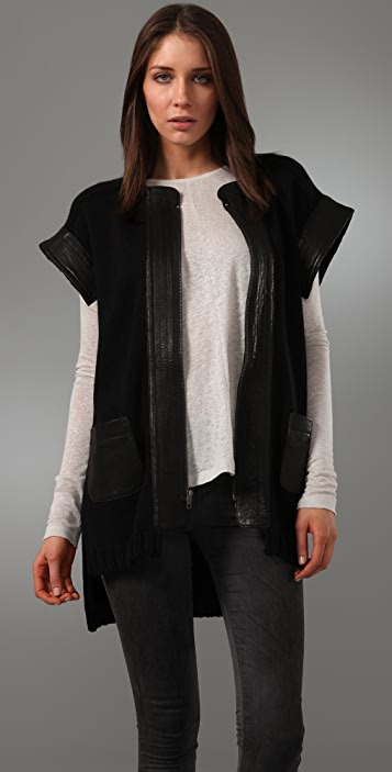 Cut25 By Yigal Azrouel Short Sleeve Cardigan Sweater With Leather