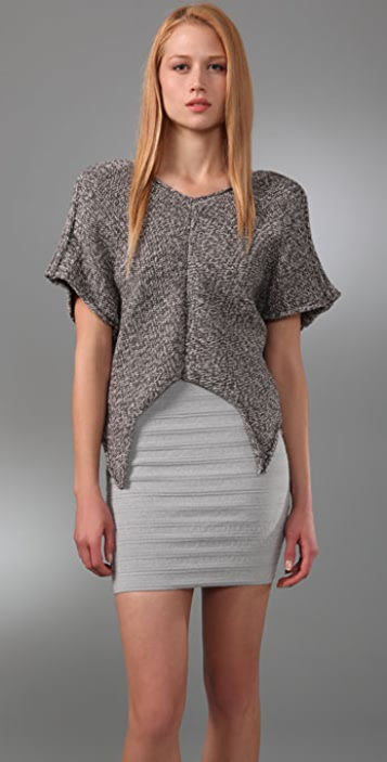 Cut25 by Yigal Azrouel V Neck Short Sleeve Sweater