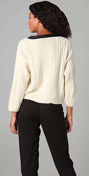 Cut25 by Yigal Azrouel Fisherman's Wool Sweater with Leather Trim