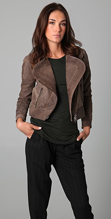 Cut25 by Yigal Azrouel Suede Moto Jacket with Asymmetrical Zip